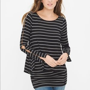 WHBM Double Layer Stripped Tunic Top